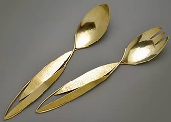 """Rivers"" style salad servers by Joy Raskin"