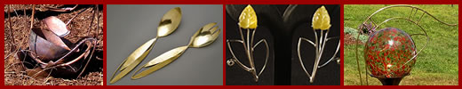 Examples of jewelry, flatware, and metal sculpture made by Joy Raskin