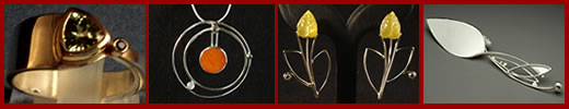 Examples of flatware, jewelry and metal sculpture made by Joy Raskin